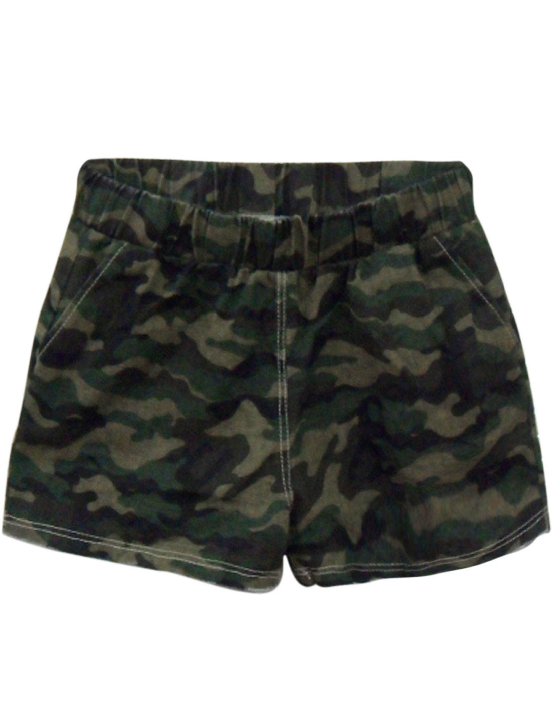 Women Camouflage Pattern Destroyed Hem Pockets Casual Shorts Beige Black XS