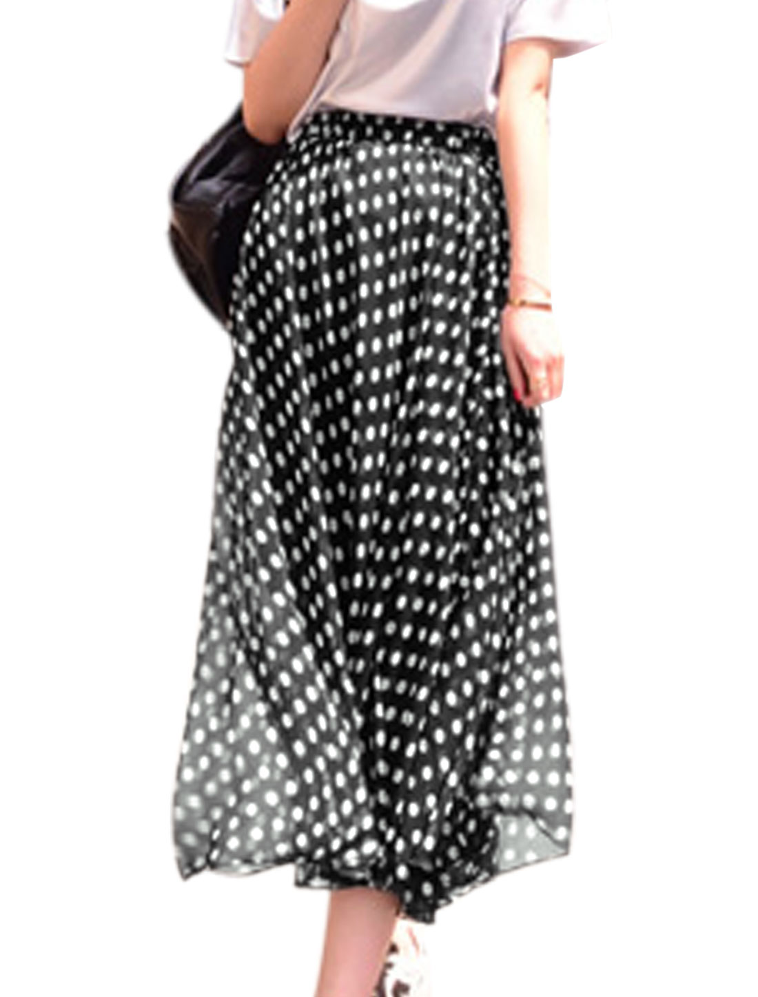 Lady Dots Pattern Elastic Waist Lining Long A-Line Skirt Black XS