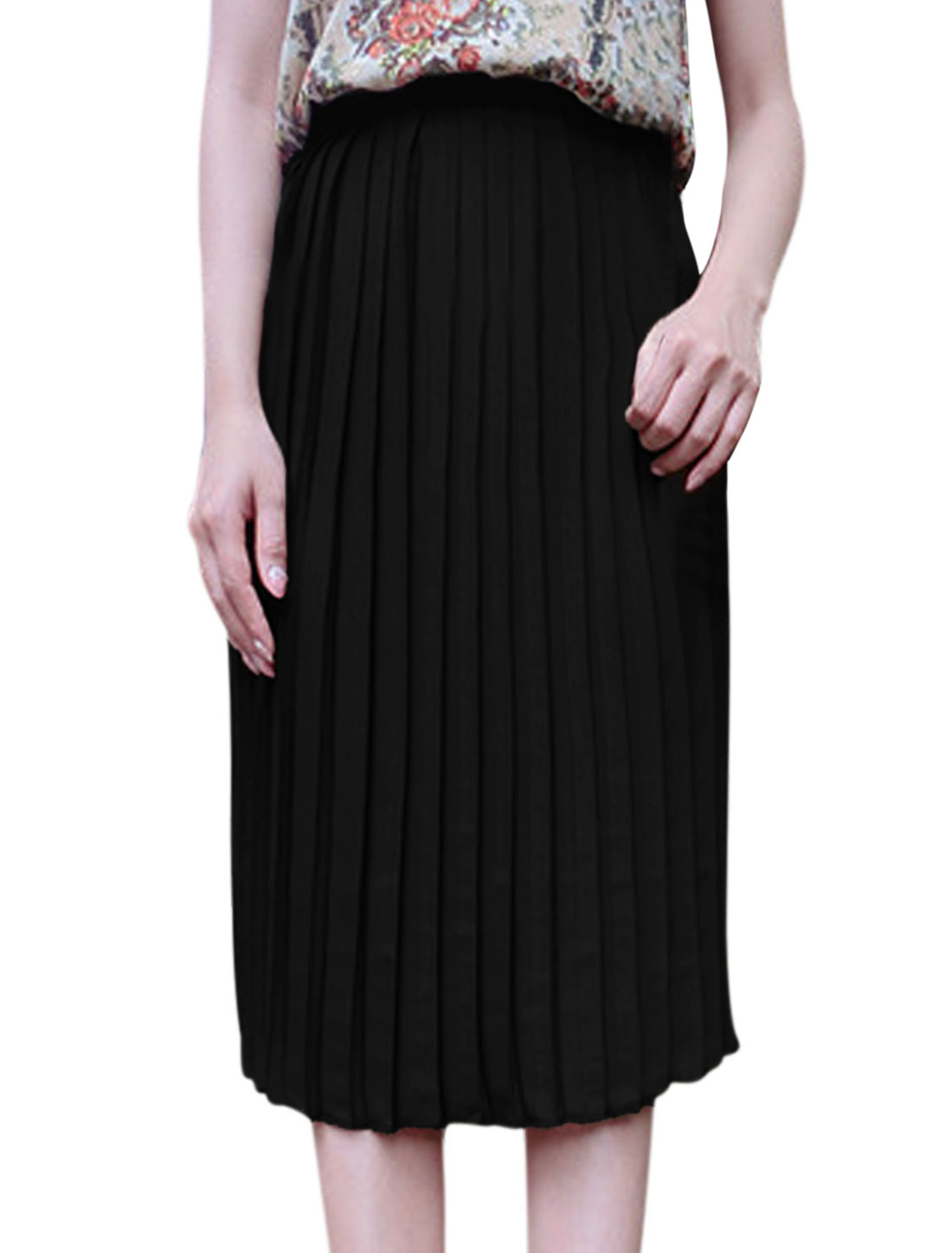 Women Concealed Side Zipper Below Knee Chiffon Pleated Skirt Black XS
