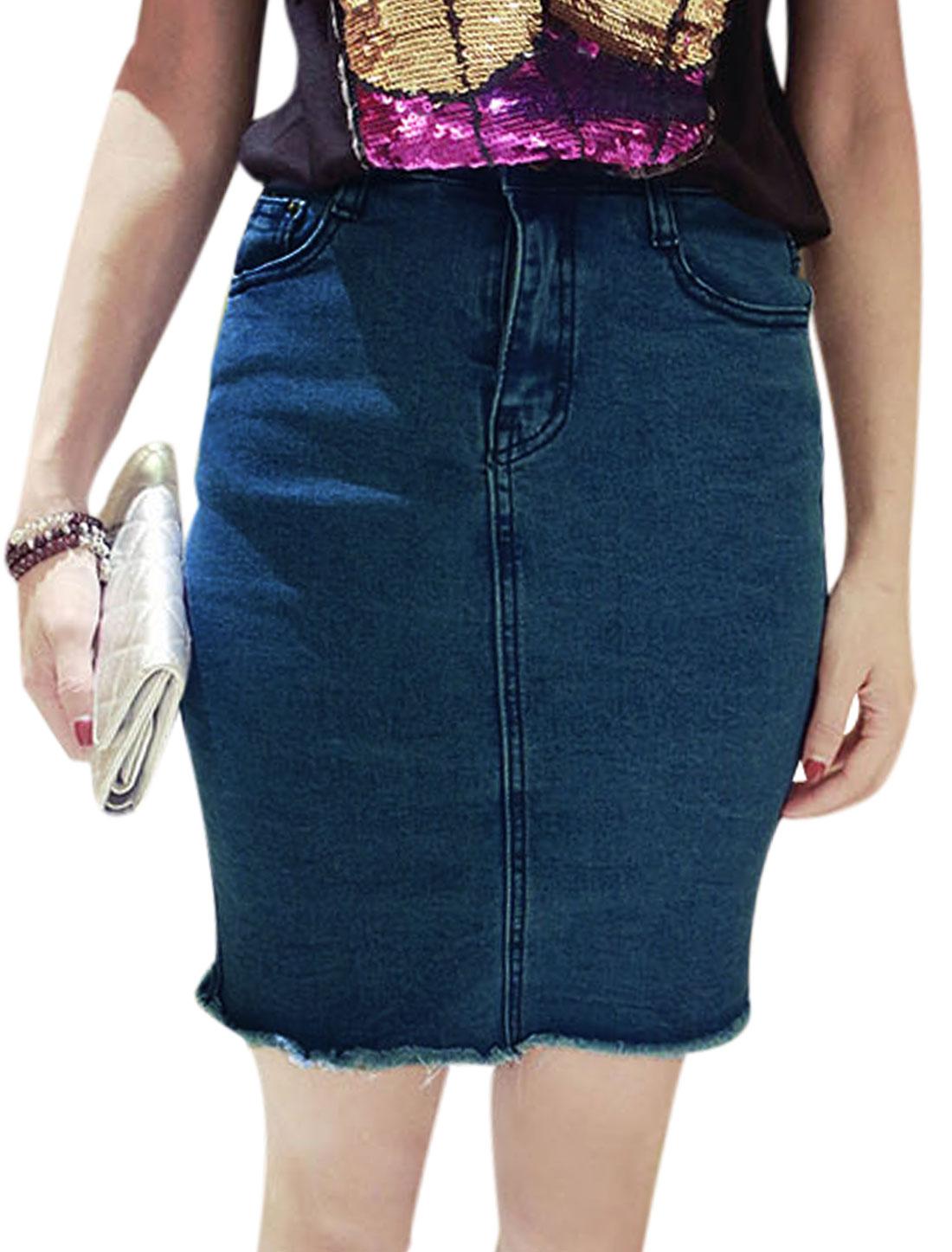 Lady Belt Loop Two Slant Pockets Split Trim Zip Fly Jean Pencil Skirt Blue S