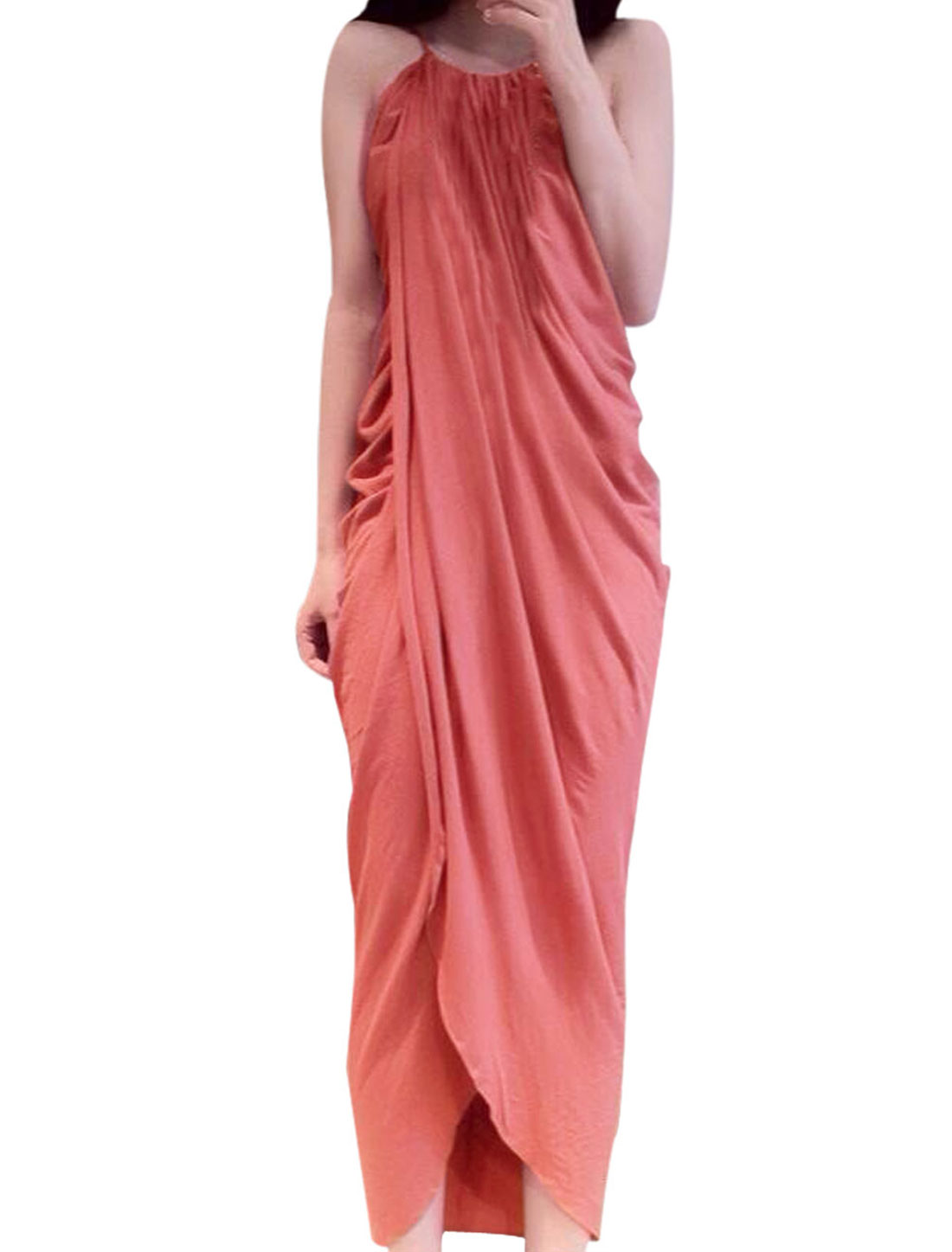 Lady Chic Round Neck Spaghetti Strap Low High Hem Wrap Dress Pink XS