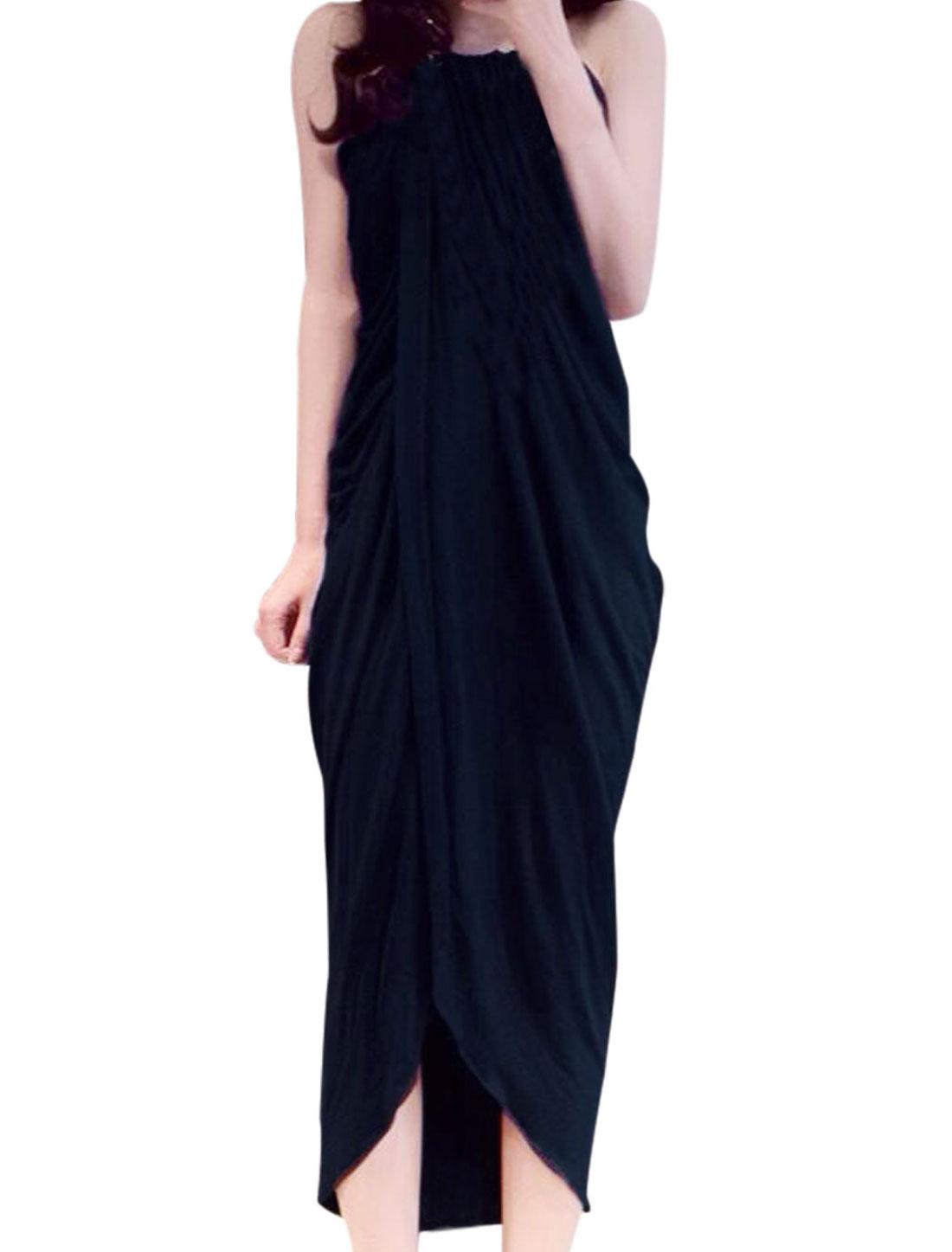 Lady Round Neck Spaghetti Strap Irregular Hem Wrap Dress Navy Blue XS