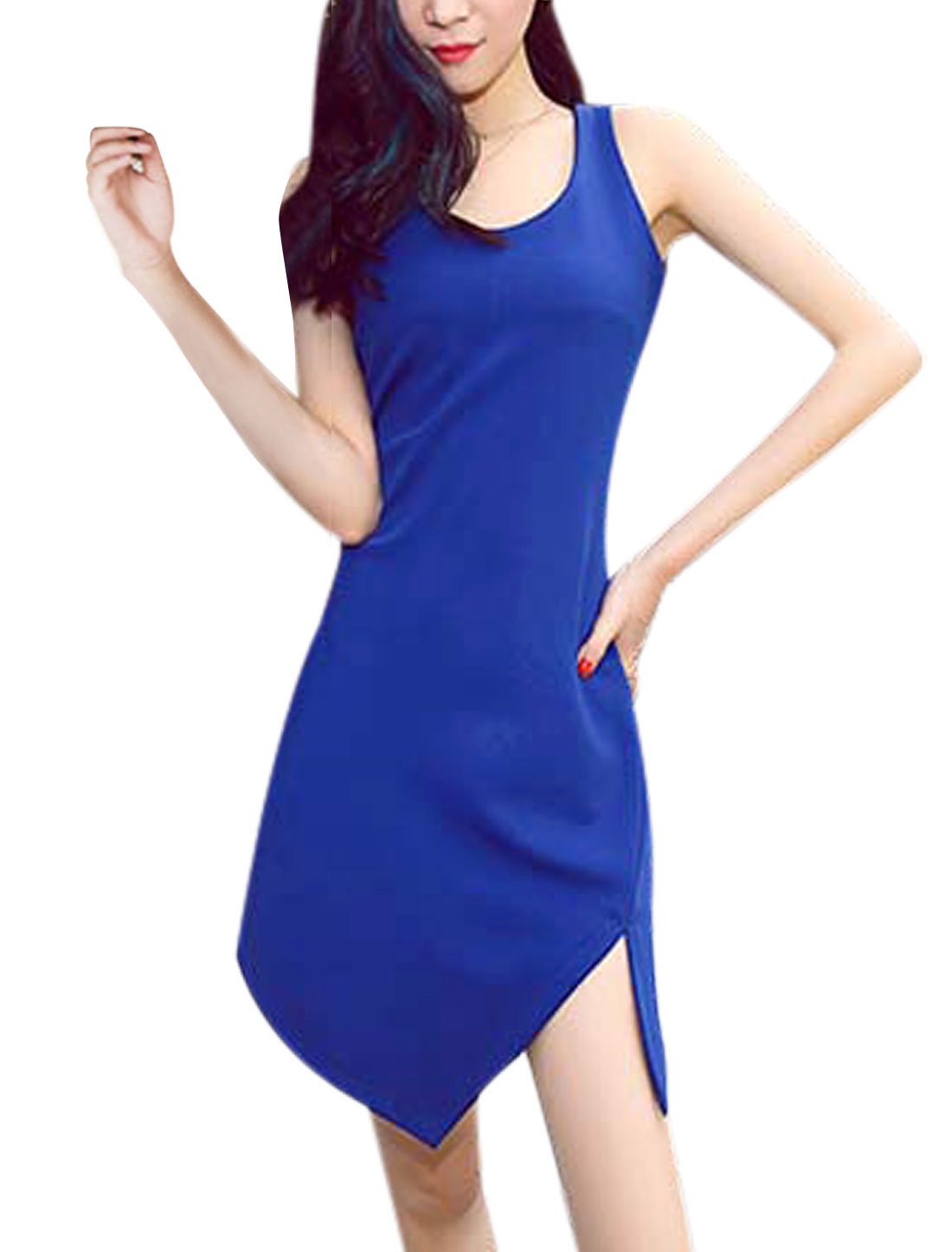Lady Sleeveless Low High Hem Above Knee Sheath Dress Blue XS