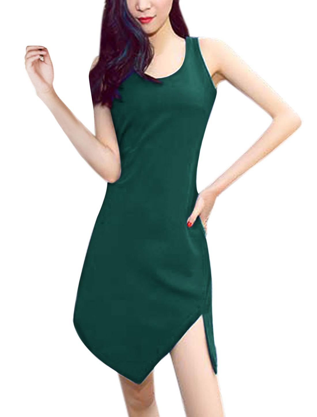 Women Low High Hem Slim Above Knee Sheath Dress Dark Green XS