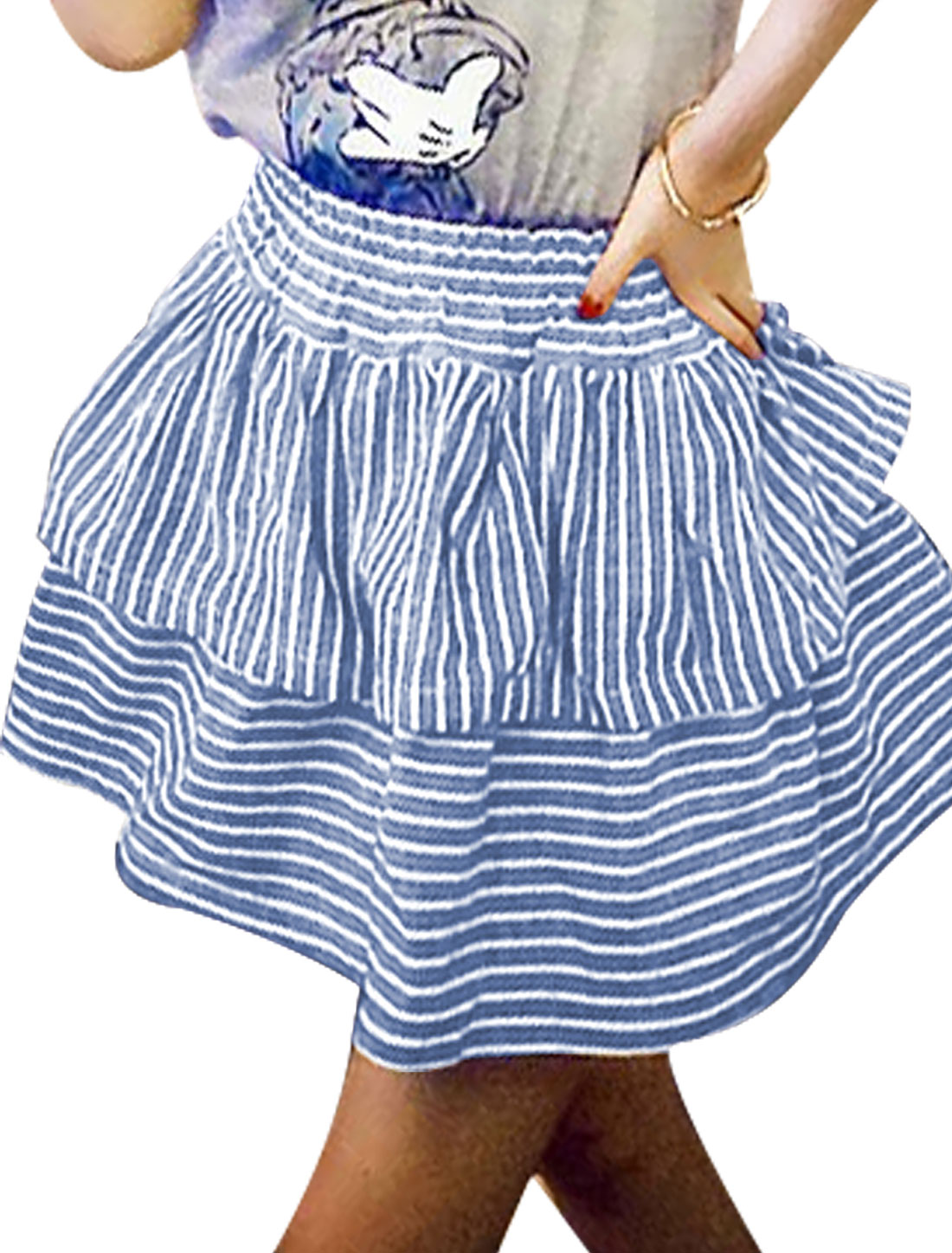 Lady Elastic Waist Above Knee Layered Design A-Line Skirt Blue XS