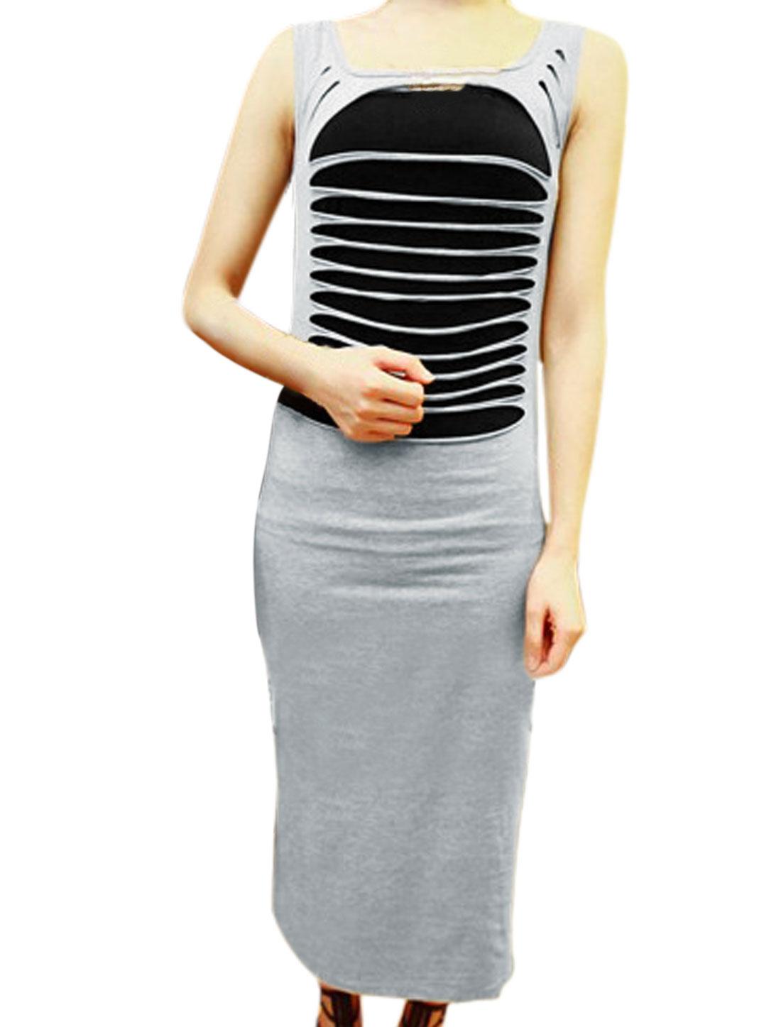 Lady Cut Out Light Gray Sheath Dress w Spaghetti Strap Black Cami XS