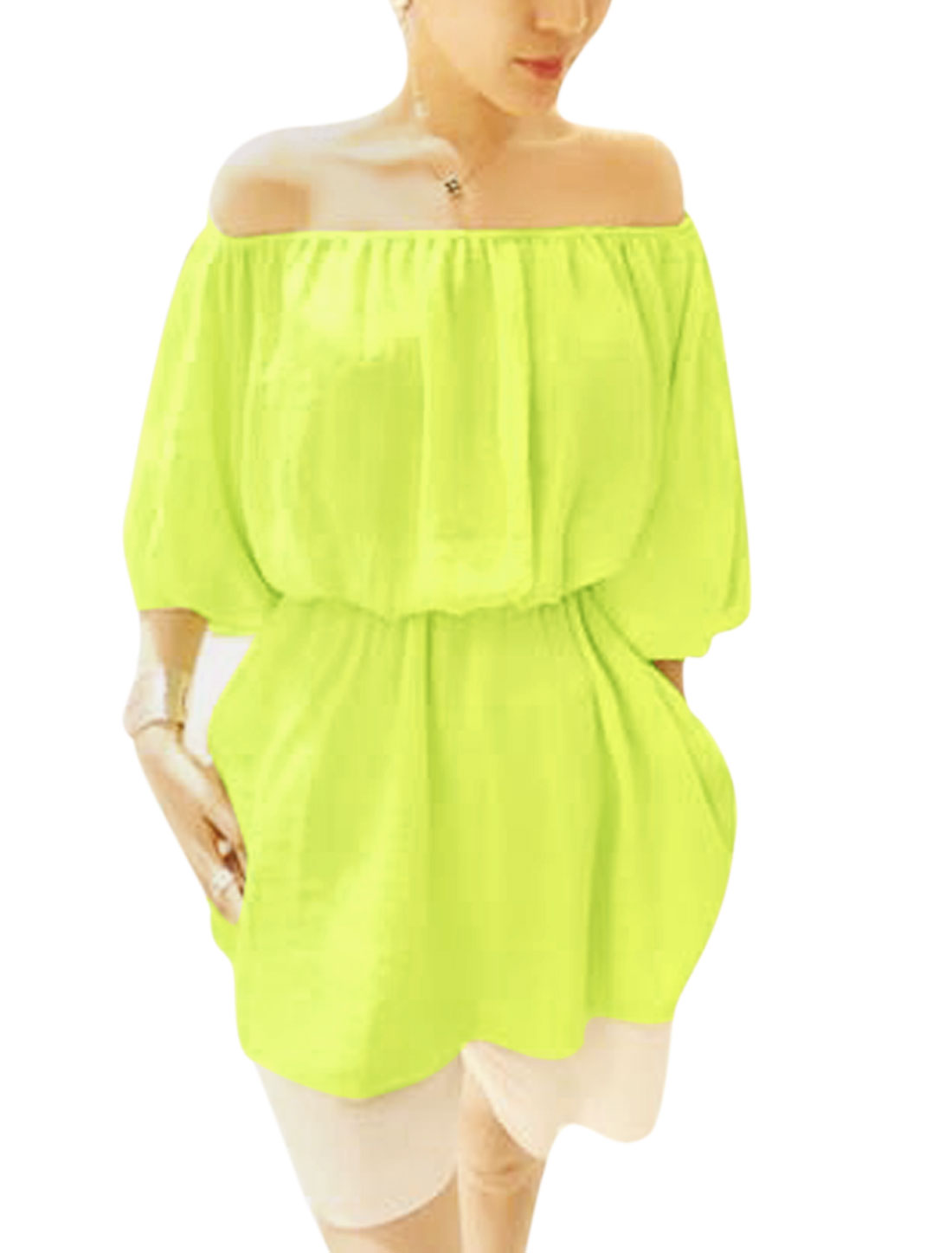 Lady Off Shoulder Puff Sleeve Elastic Waist Tunic Top Green Yellow XS