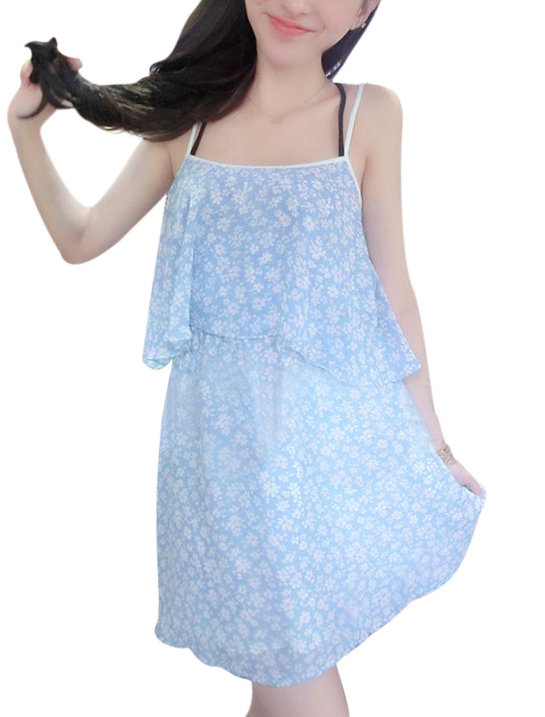 Lady Spaghetti Strap Flouncing Style Floral Prints Dress Sky Blue XS