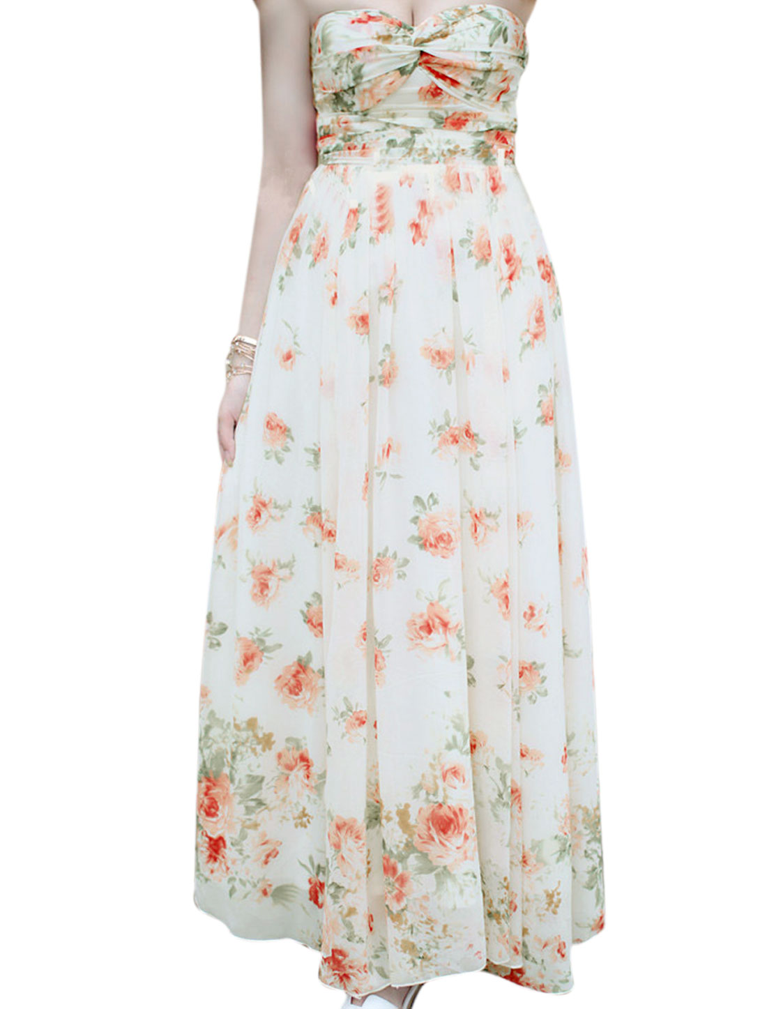 Lady Strapless Smocked Back Ruched Front Floral Prints Dress Off White XS