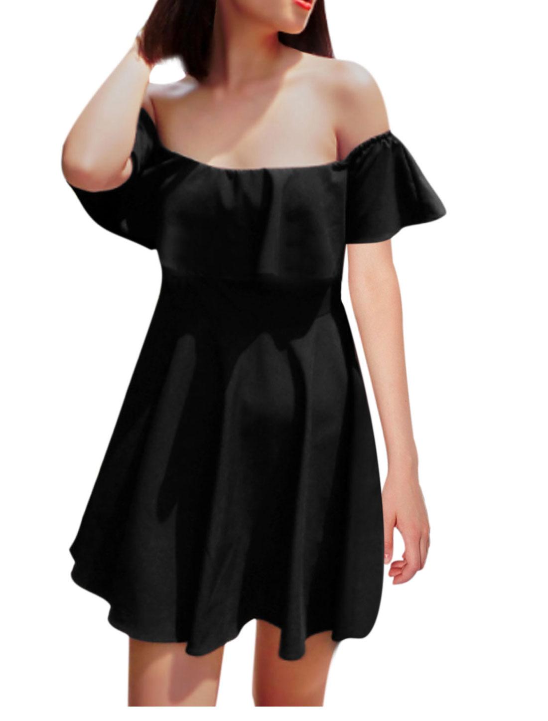 Women NEW Elastic Off Shoulder Flouncing Design Dress Black XS