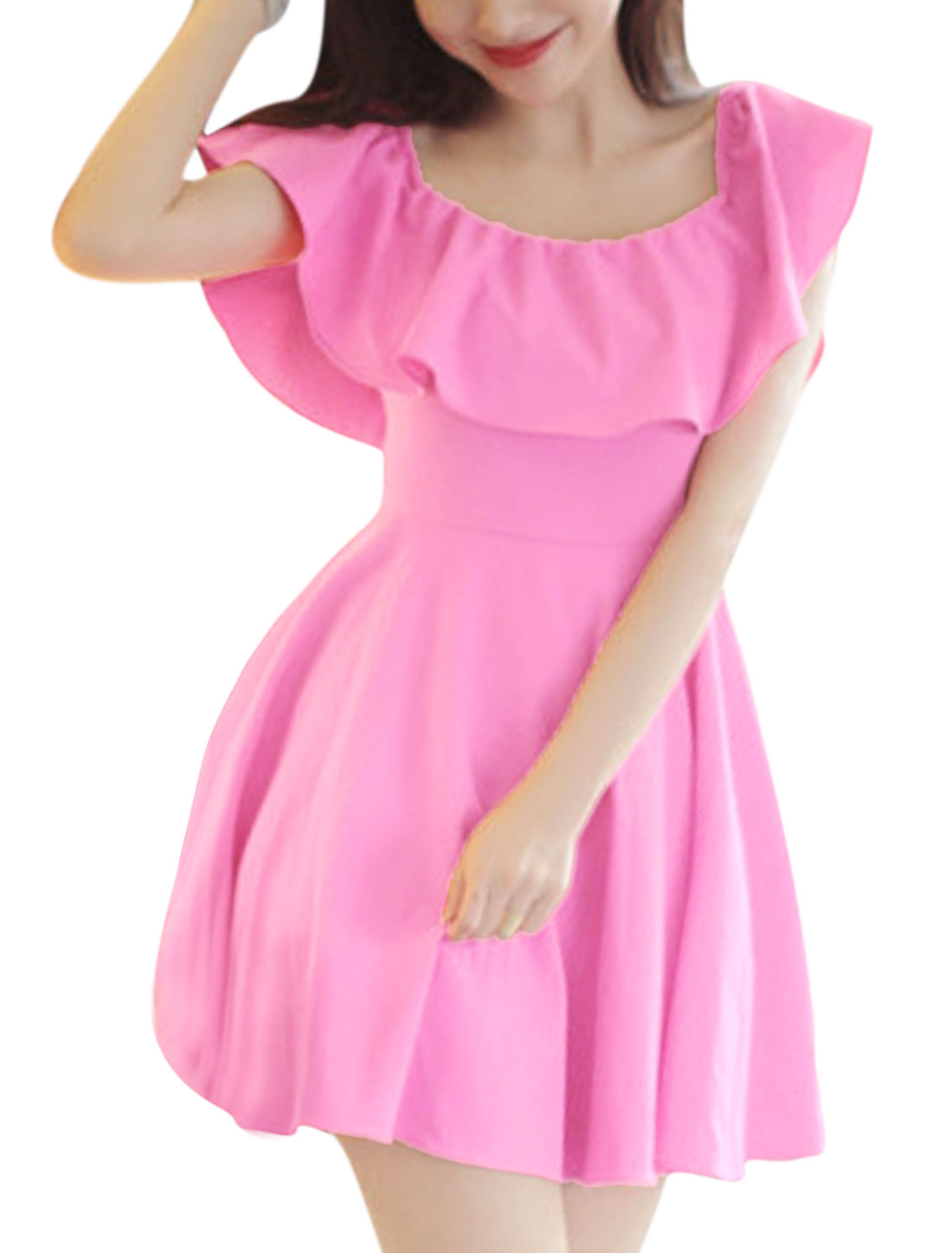 Lady Elastic Off Shoulder Flouncing Design Dress Fuchsia XS