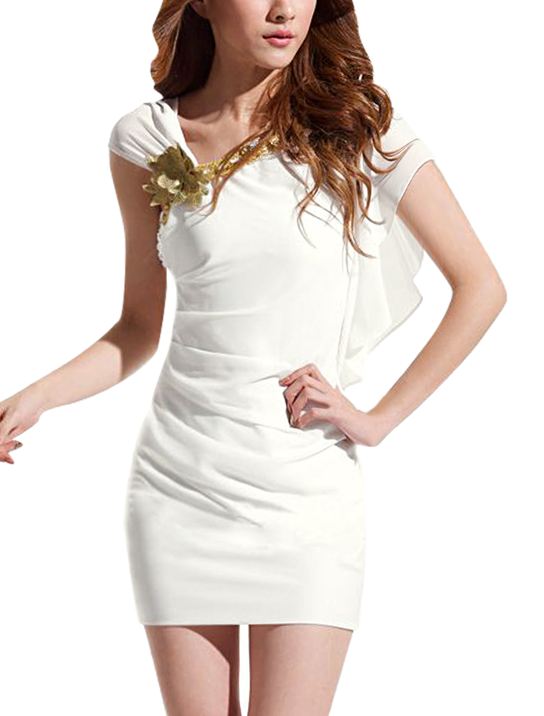 Ladies Aymmetric Neck Flower Decor Slim Fit Sheath Dress White XS