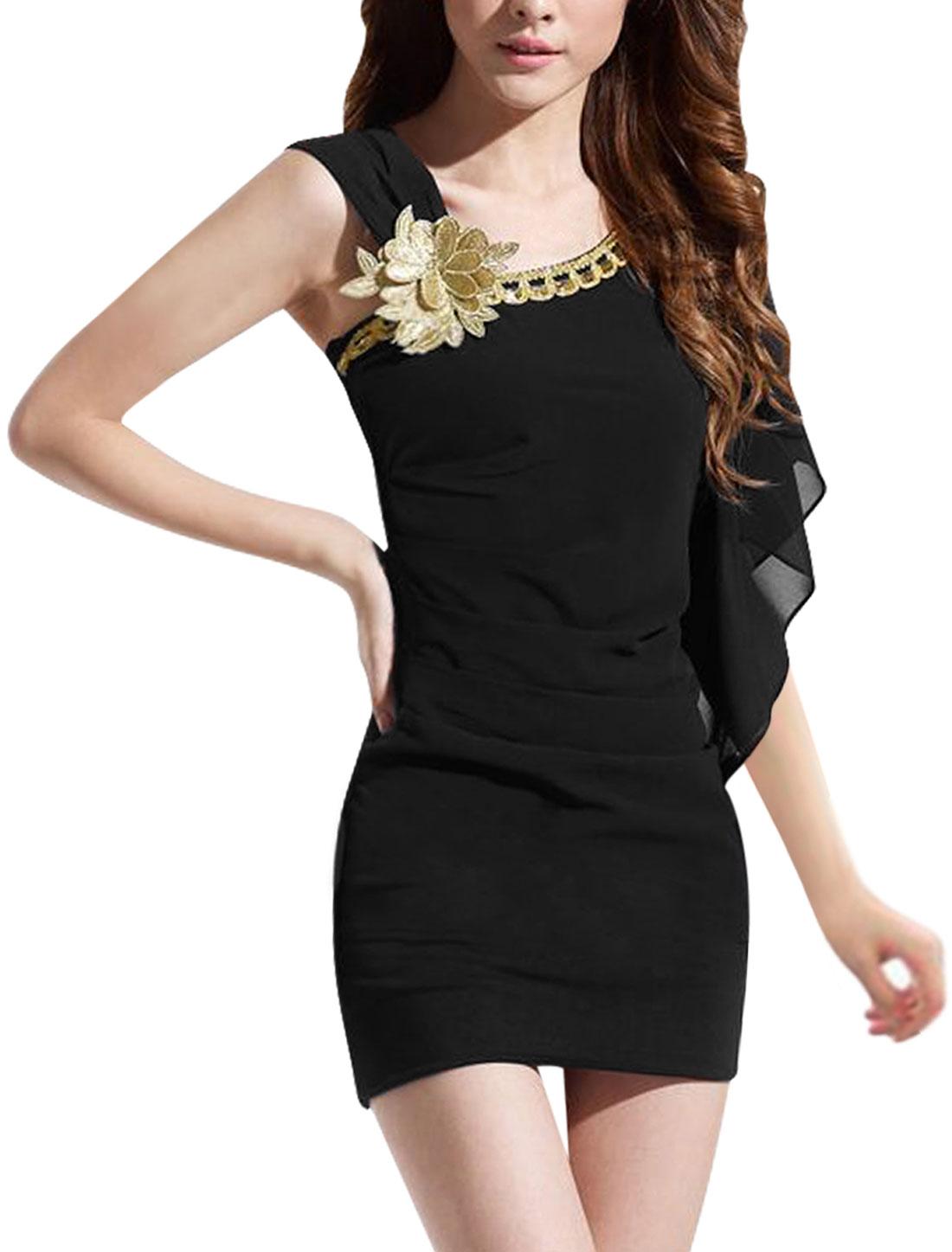 Women Asymmetric Sleeve Shirr Design Above Knee Sheath Dress Black XS