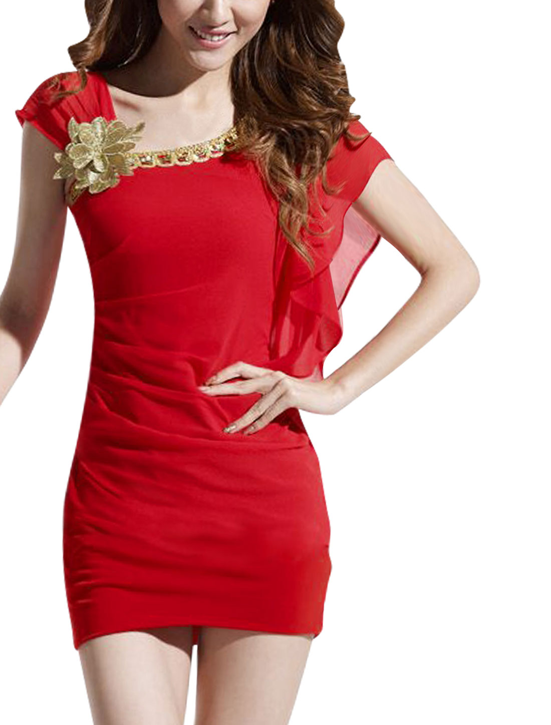 Ladies Asymmetric Sleeve Shirr Design Above Knee Chic Sheath Dress Red XS