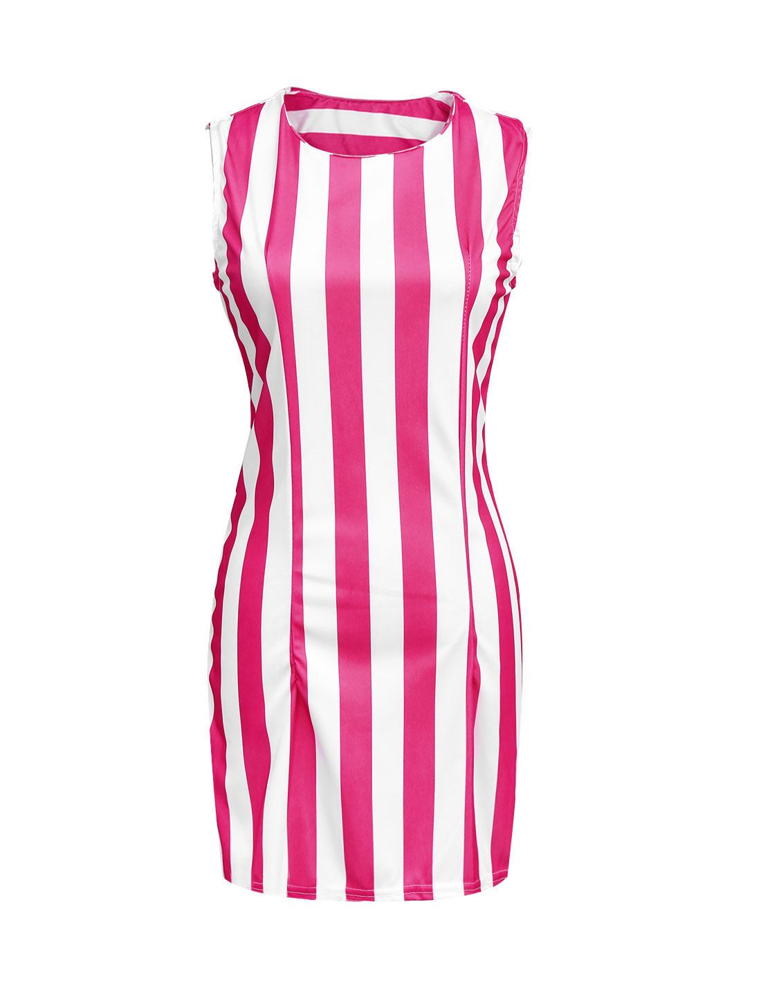 Lady Stripes Pattern Sleeveless Above Knee Sheath Dress Fuchsia White L