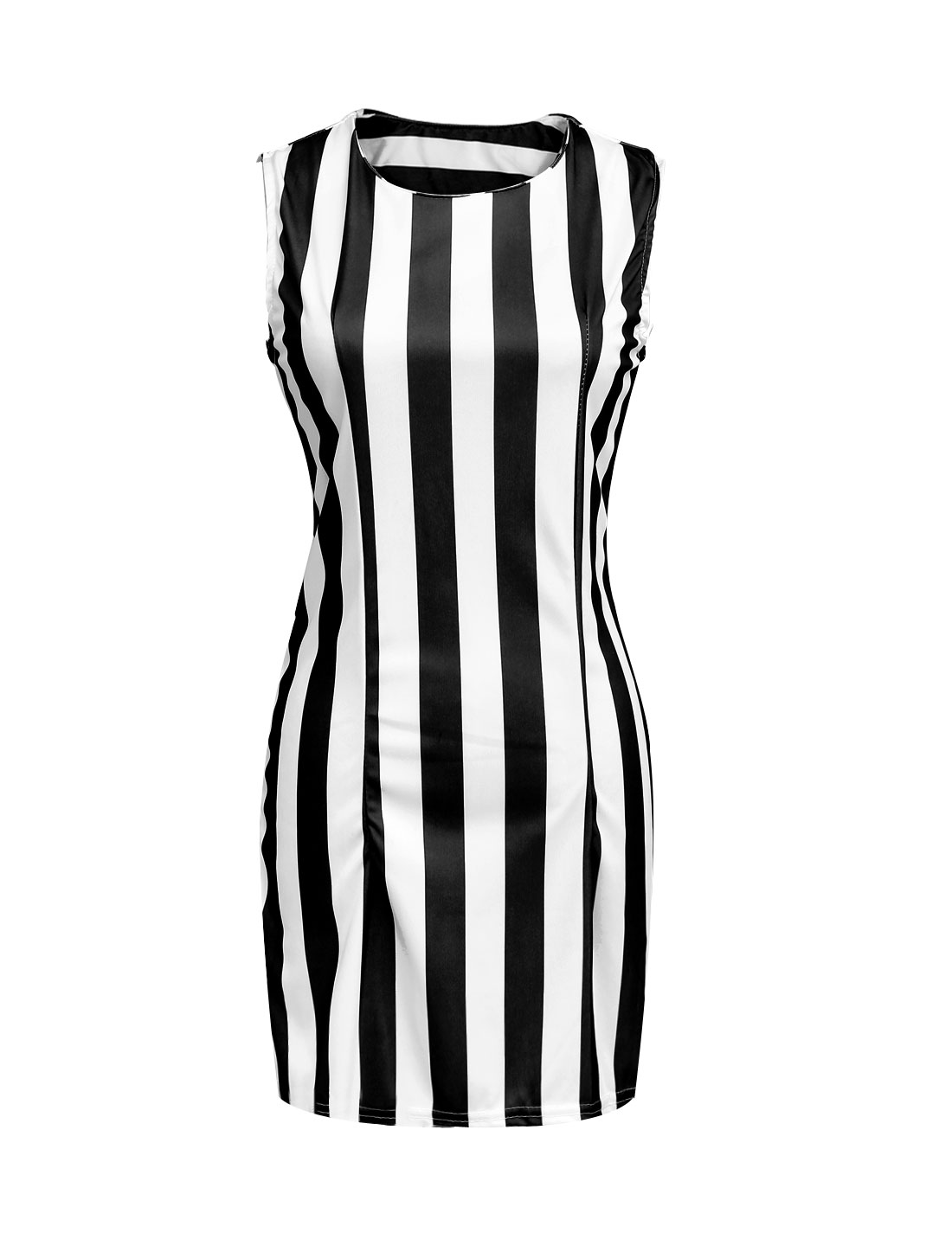 Lady Vertical Stripes Round Neck Above Knee Sheath Dress Black White L