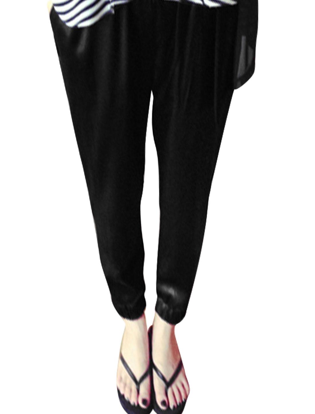 Women Leisrue Elastic Waist Tight Cuffs Cropped Pants Black XS