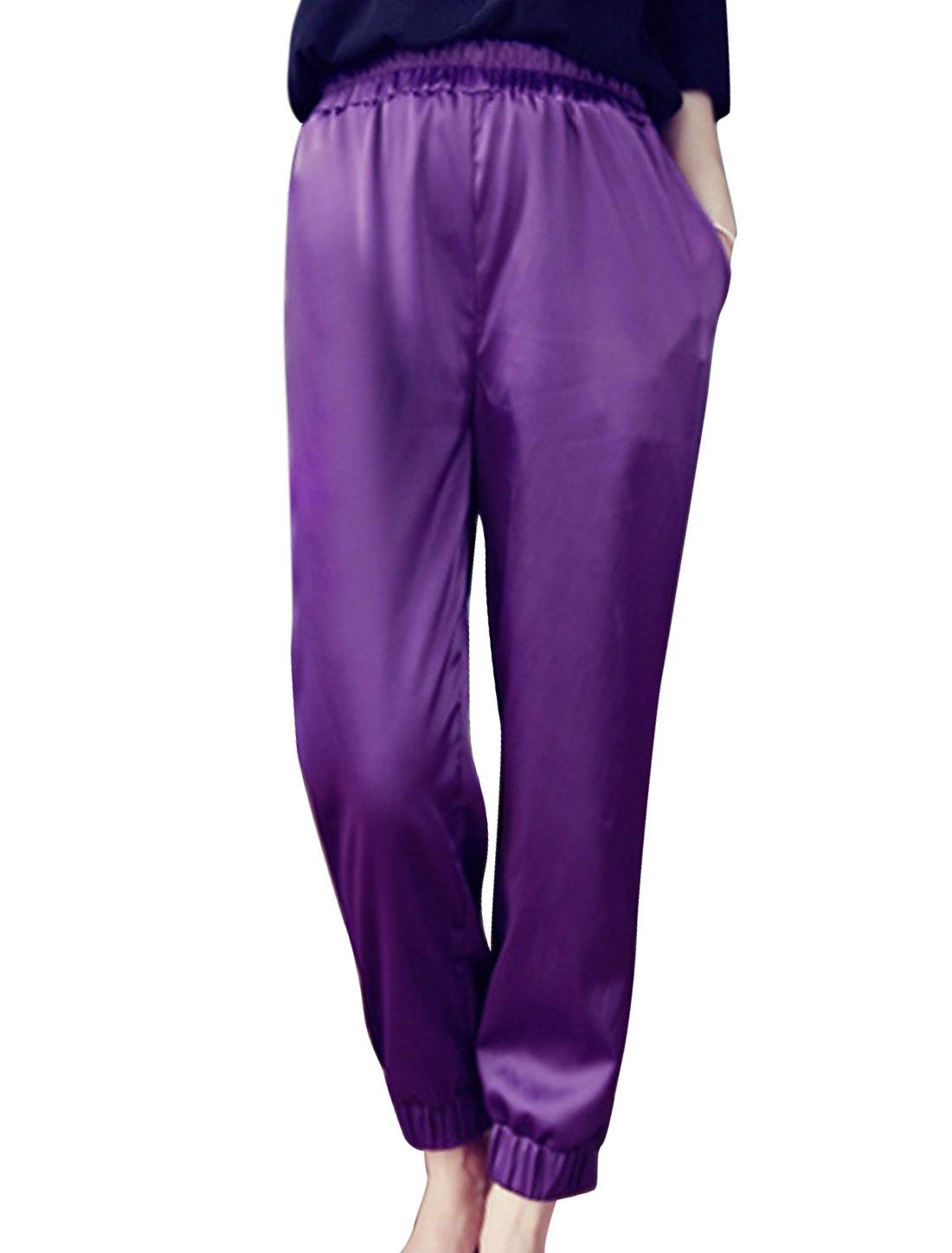 Women Elastic Waist Tight Cuffs Cropped Pants Purple XS