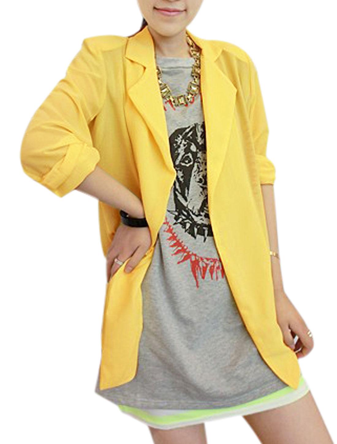 Lady Notched Lapel Buttonless Padded Shoulder Chiffon Blazer Yellow M