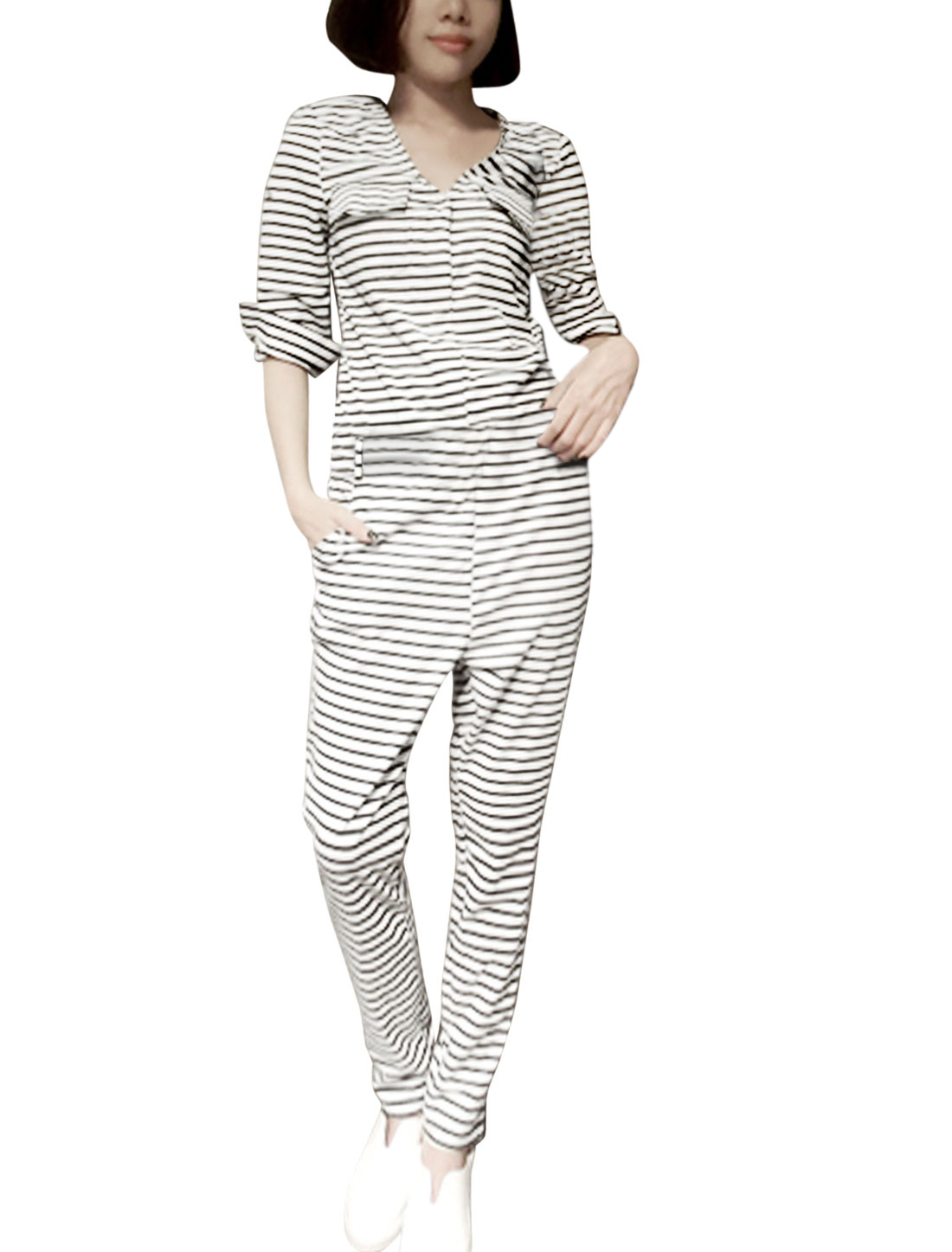 Ladies 3/4 Sleeve Horizontal Stripes Pattern Trendy Jumpsuit Black White S