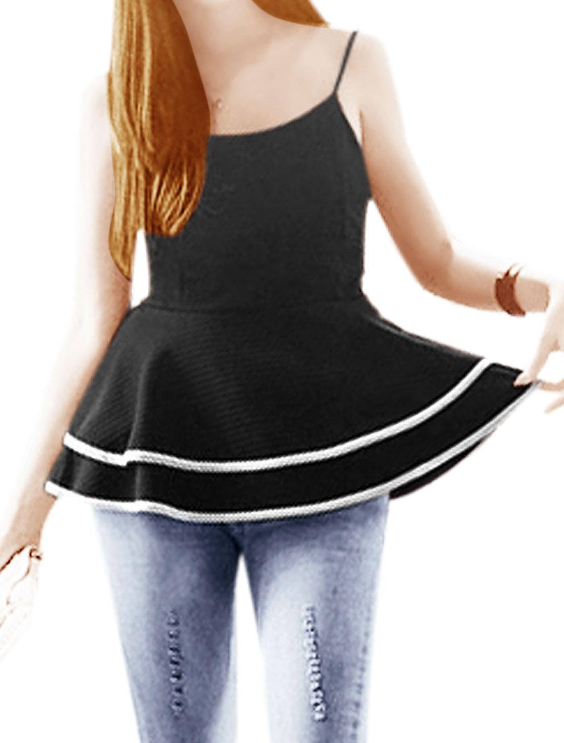 Lady Spaghetti Strap Square Neckline Textured Design Blouse Black S
