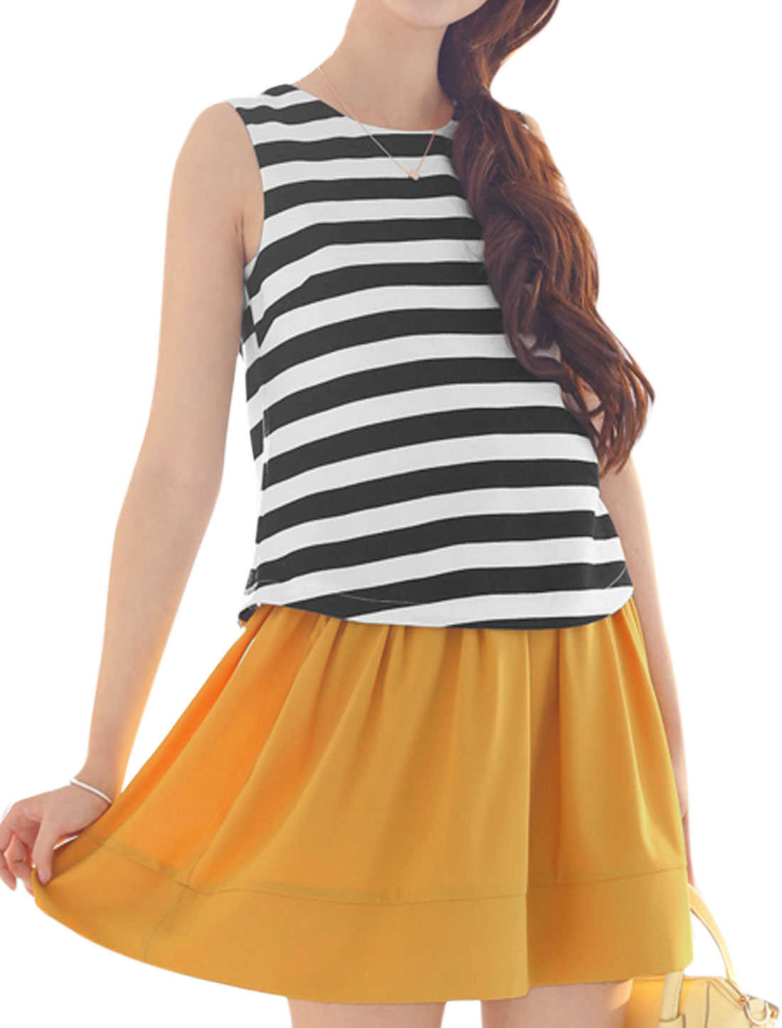 Women Round Neck Stripes Layered Design Sweet Tank Dress Multicolor XS