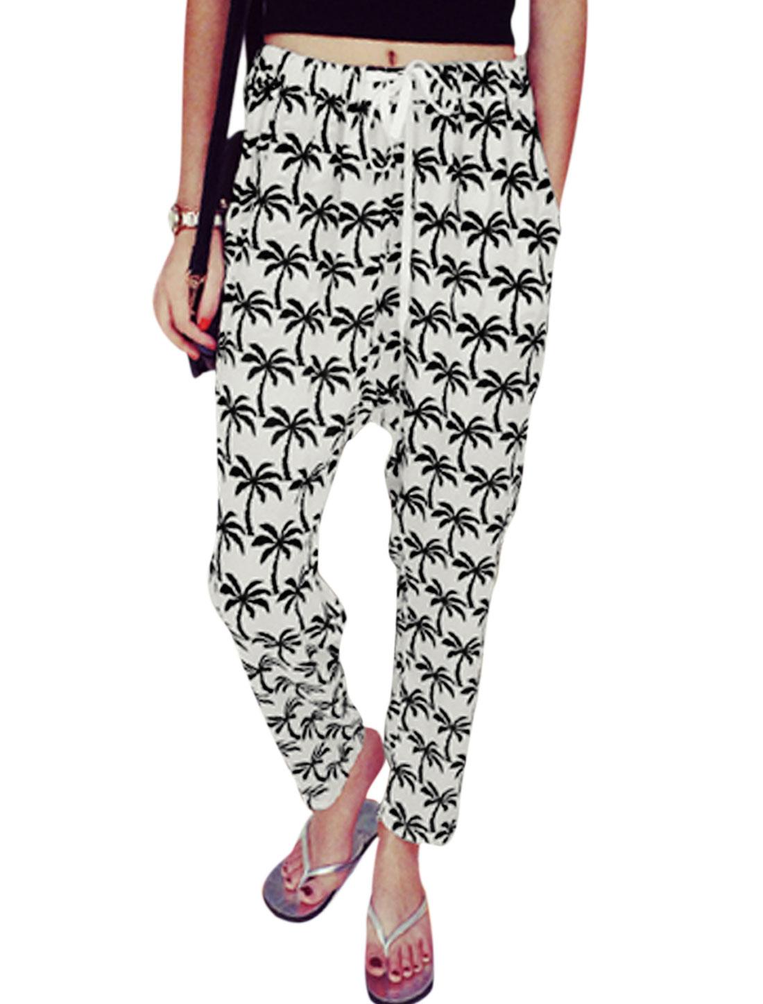Ladies Drawstring Coconut Tree Pattern Fashionable Harem Pants White XS