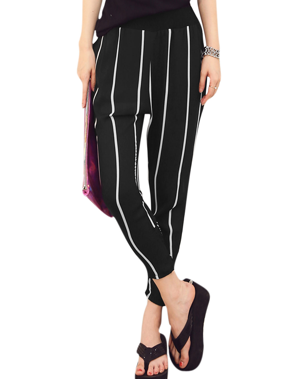 Lady Seam Pockets Vertical Stripes Pattern Stylish Cropped Harem Pants Black S