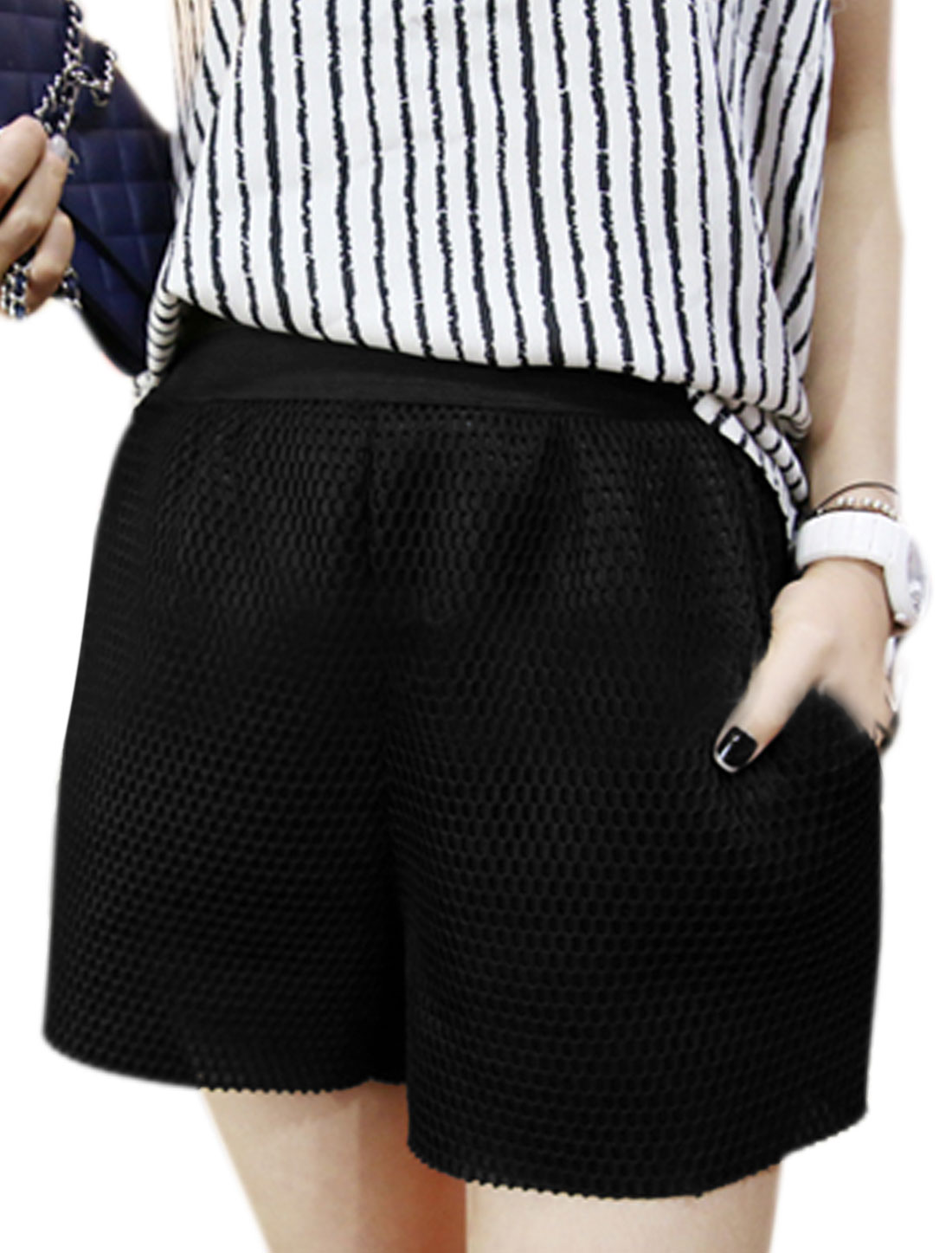Women Elastic Waist Double Slant Pockets Stylish Net Shorts Black XS