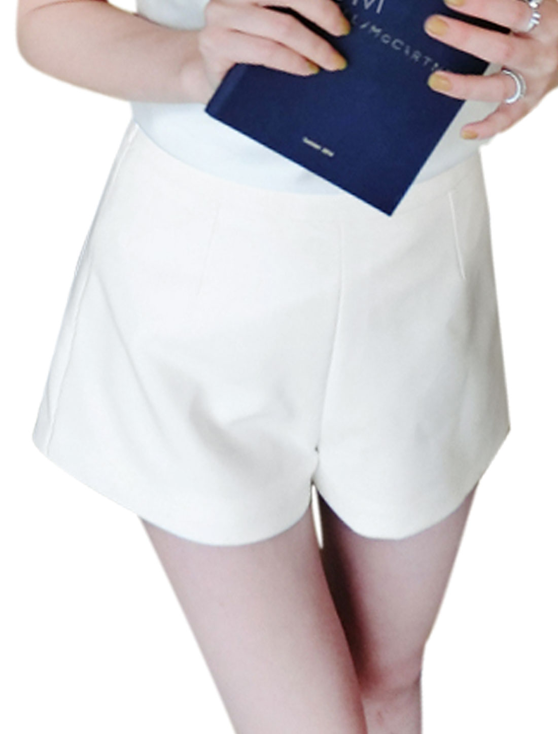 Lady Hidden Zipper High Rise Slim Fashion Short Pants White S