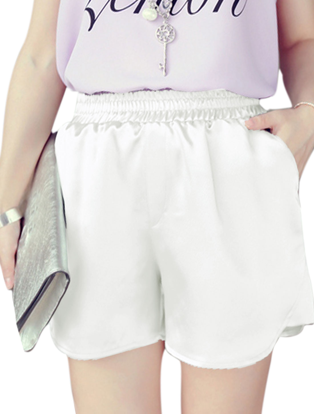 Ladies Pockets Design Chic Short Pants White XS