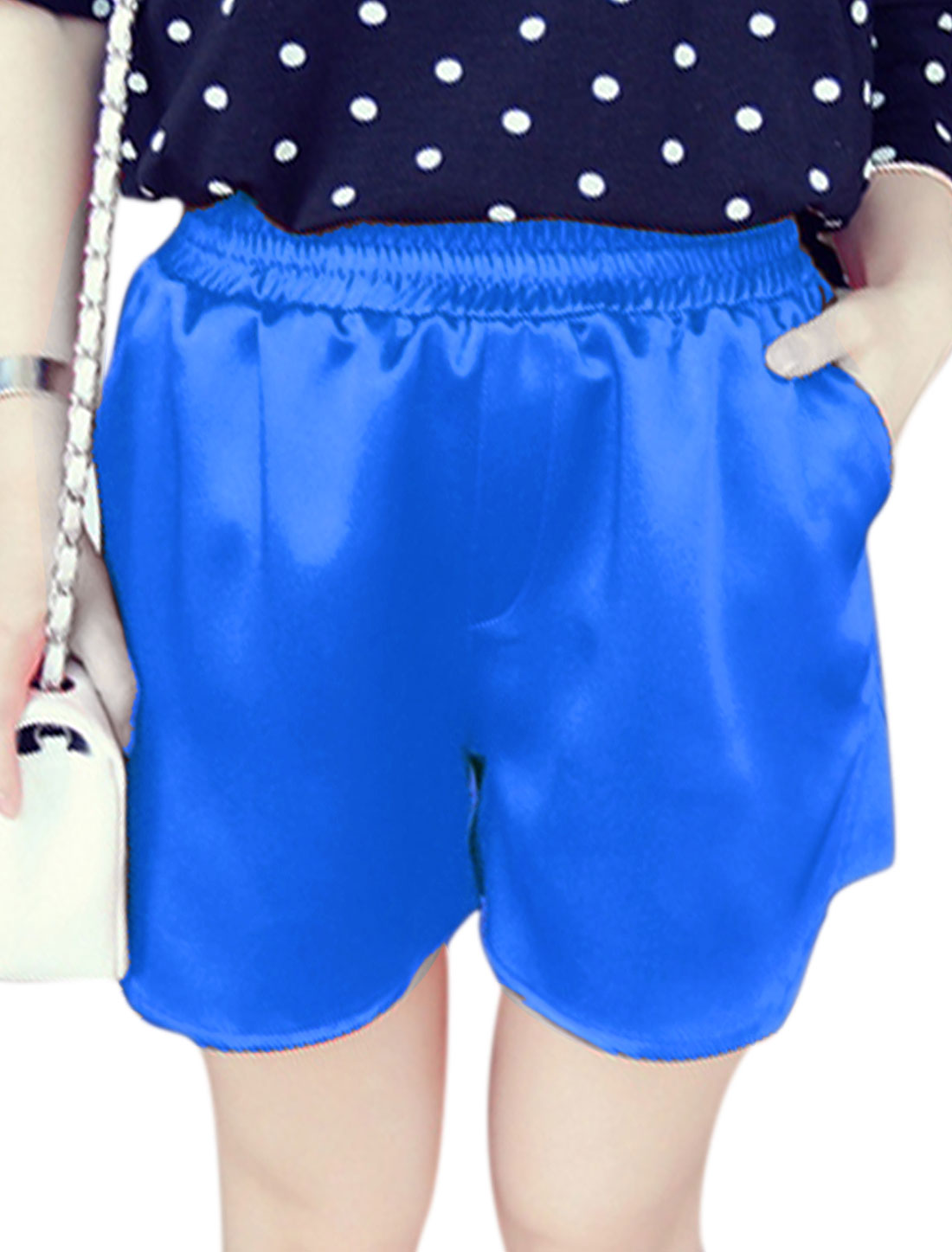 Women Casual Stretchy Waist High Rise Panel Short Pants Blue XS