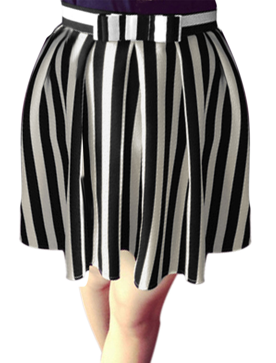 Ladies Stripes Pattern Hidden Zipper Lining Chiffon A-Line Skirt Black White XS