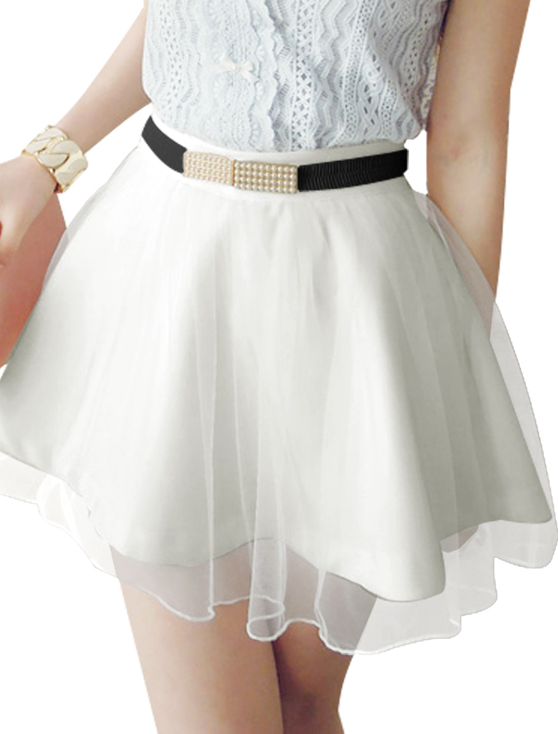 Lady Stretchy Waist Above Knee Skirt w Waist Belt White XS