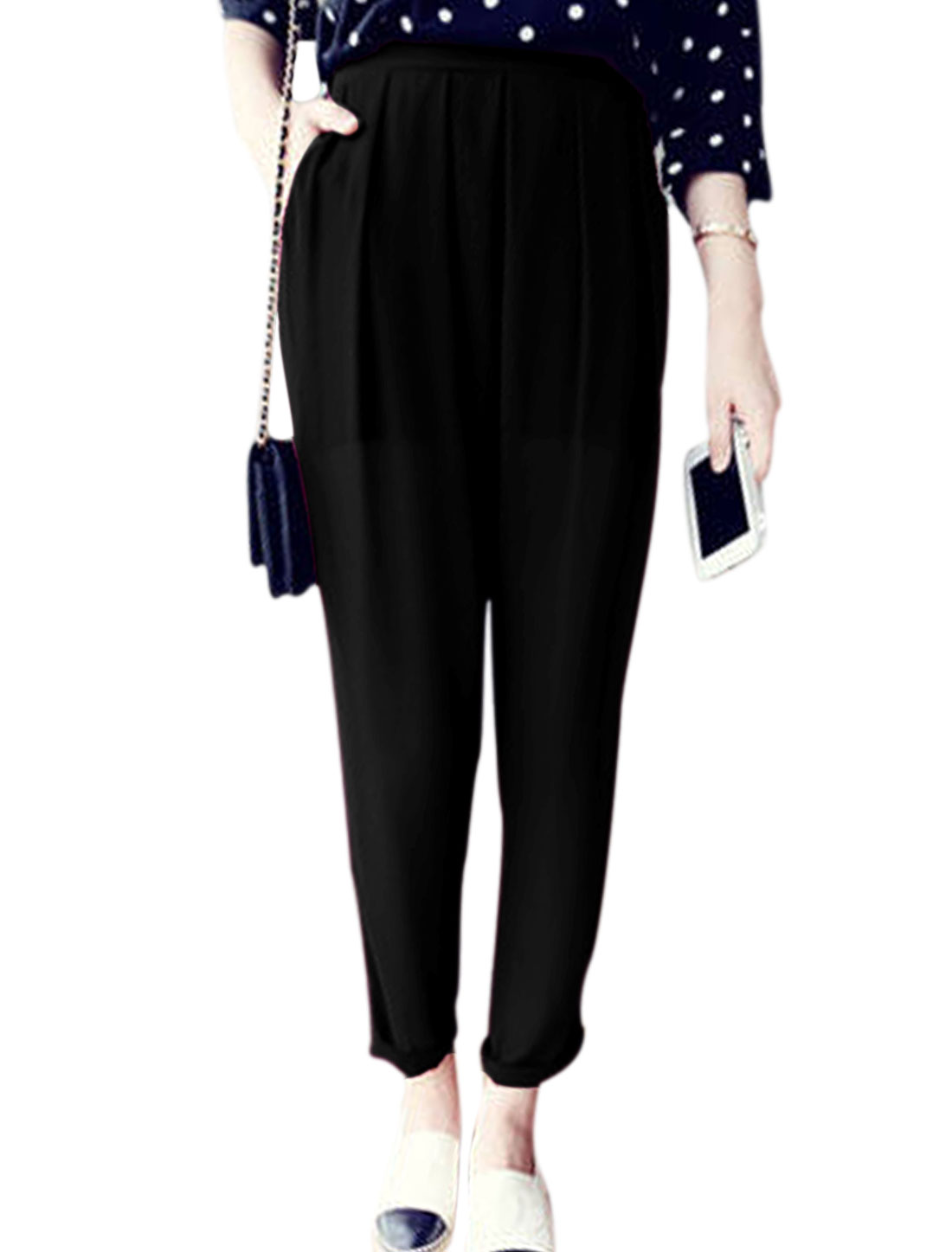 Lady Ruched Detail Double Slant Pockets Design Harem Pants Black S