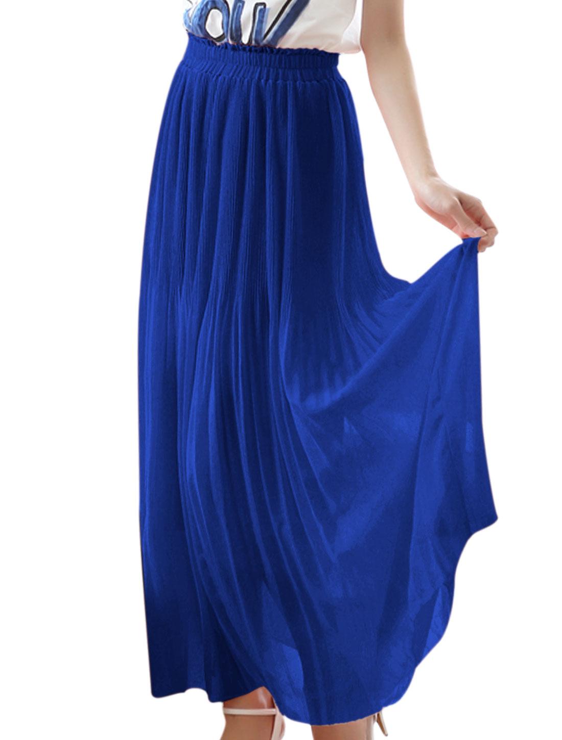 Lady Stretchy Waist Lining Long Chiffon A-Line Skirt Royal XS