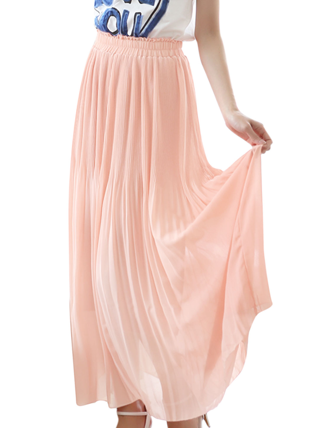 Lady Light Pink Elastic Waist Full-Length A-line Skirt XS