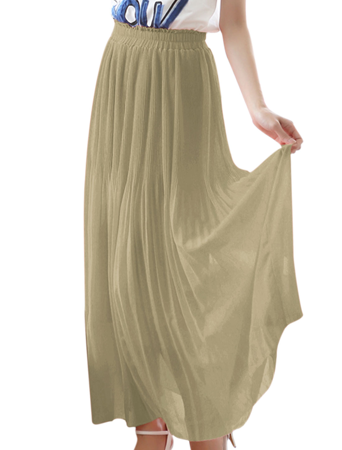 Lady Light Coffee Pleated Design Lining A-Line Skirt XS