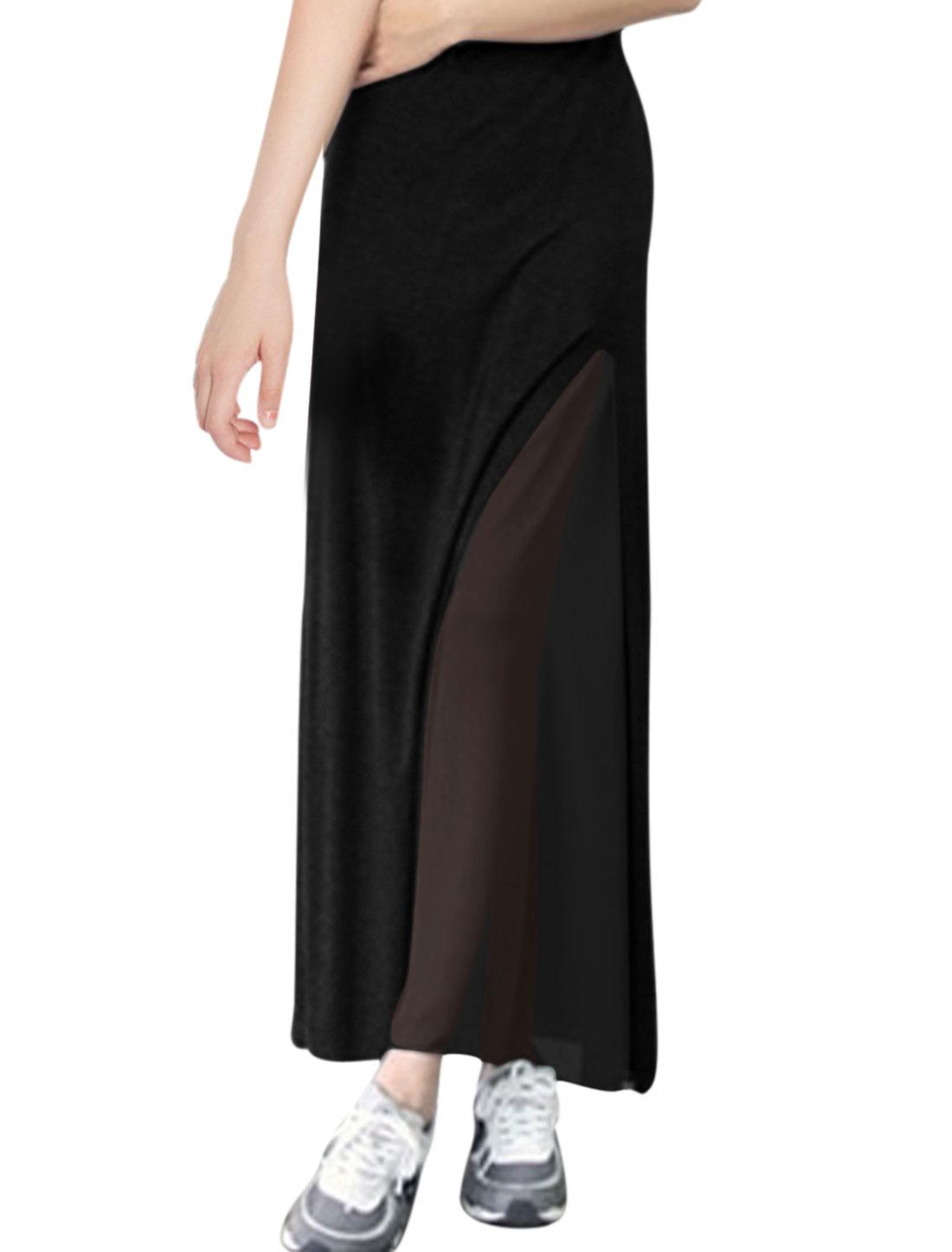 Ladies Fashion Elastic Waist Split Side Soft Skirt Black S