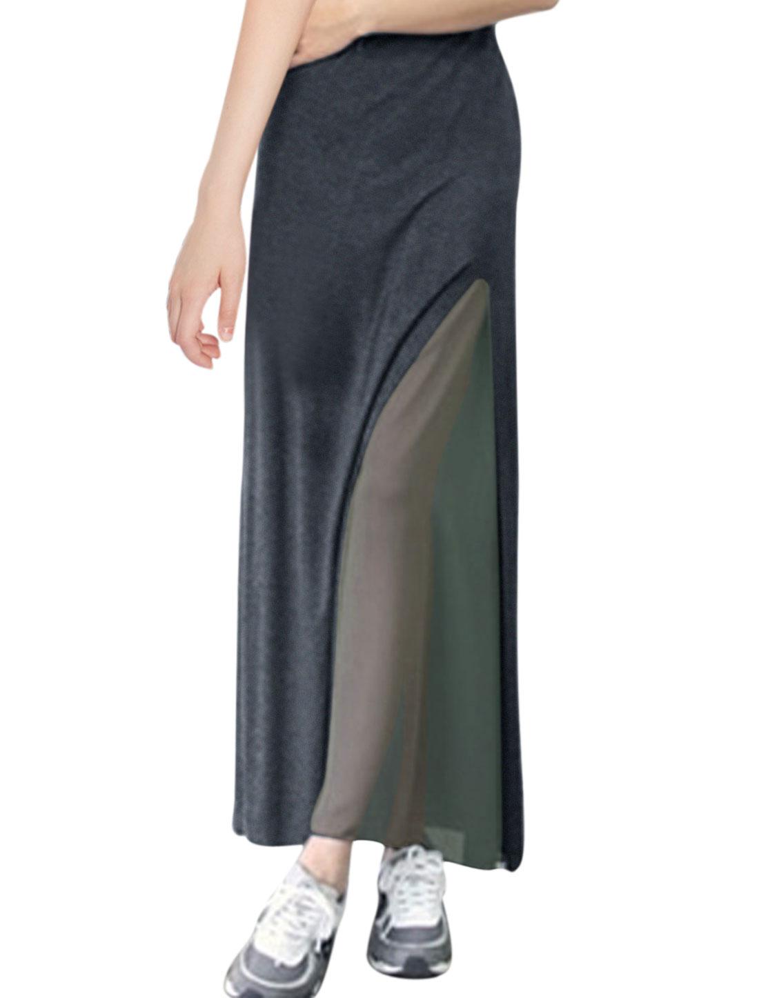Ladies Fashion Split Side Full-Length Soft Skirt Dark Gray S