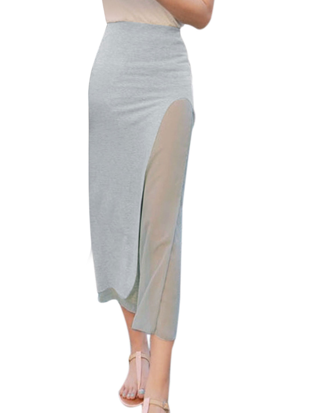 Ladies Soft Split Side Chiffon Lining Sheerness Skirt Light Gray S