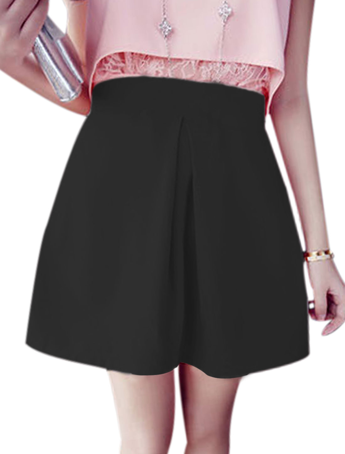 Ladies Ruched Detail Concealed Zipper Chic A-Line Skirt Black M