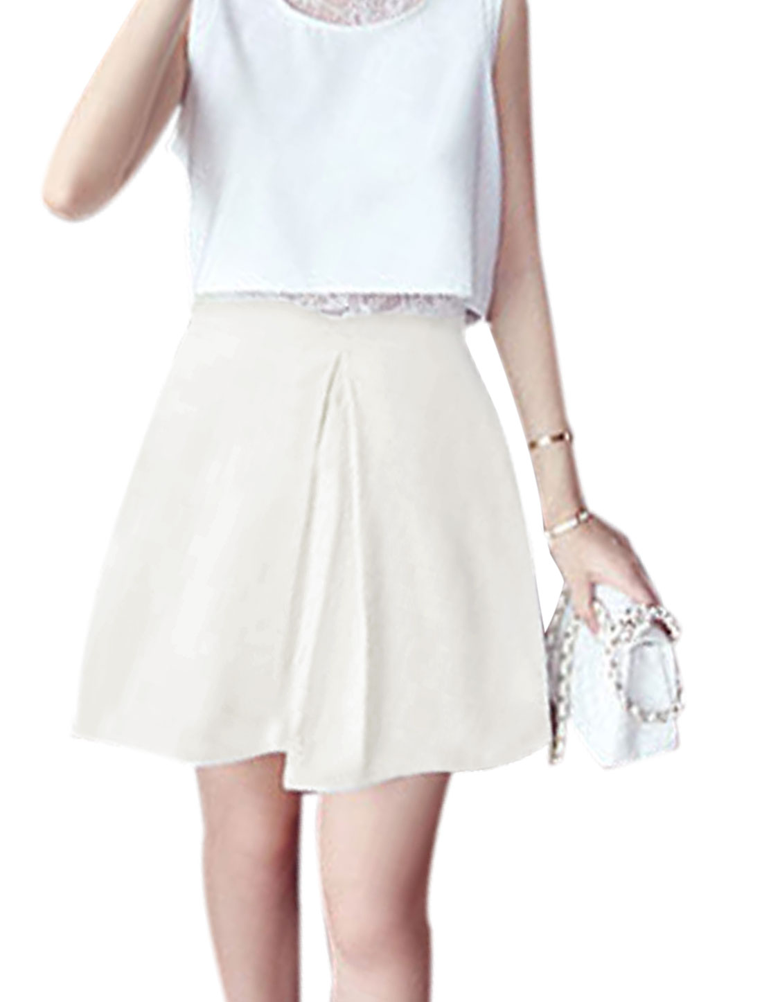 Lady Ruched Detail Zipper Closure Chic A-Line Skirt White M