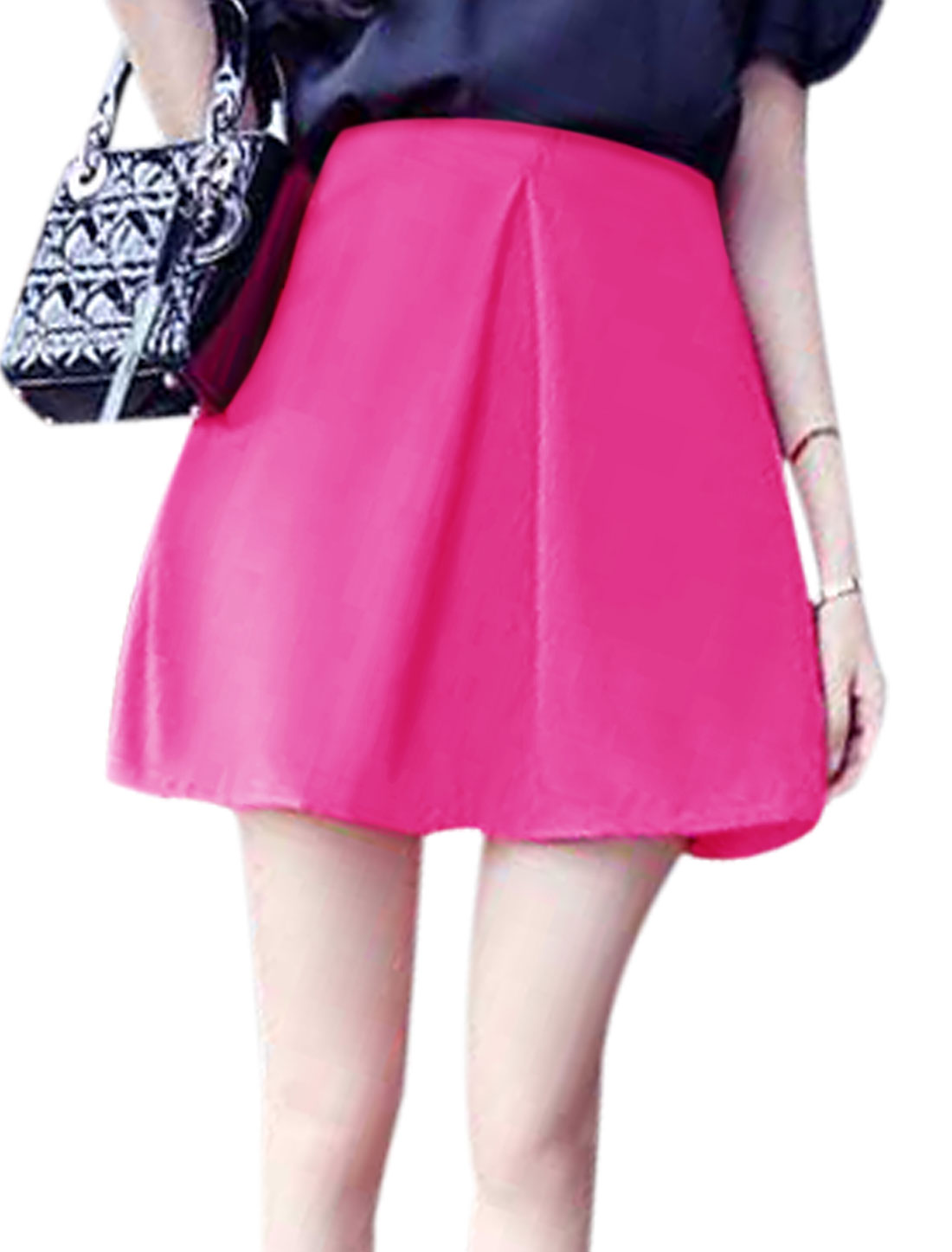Ruched Detail Concealed Zipper Lining A-Line Skirt for Women Fuchsia M