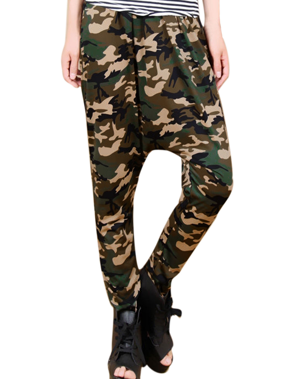 Women Two Pockets Camouflage Pattern Stylish Harem Pants Beige Black XS
