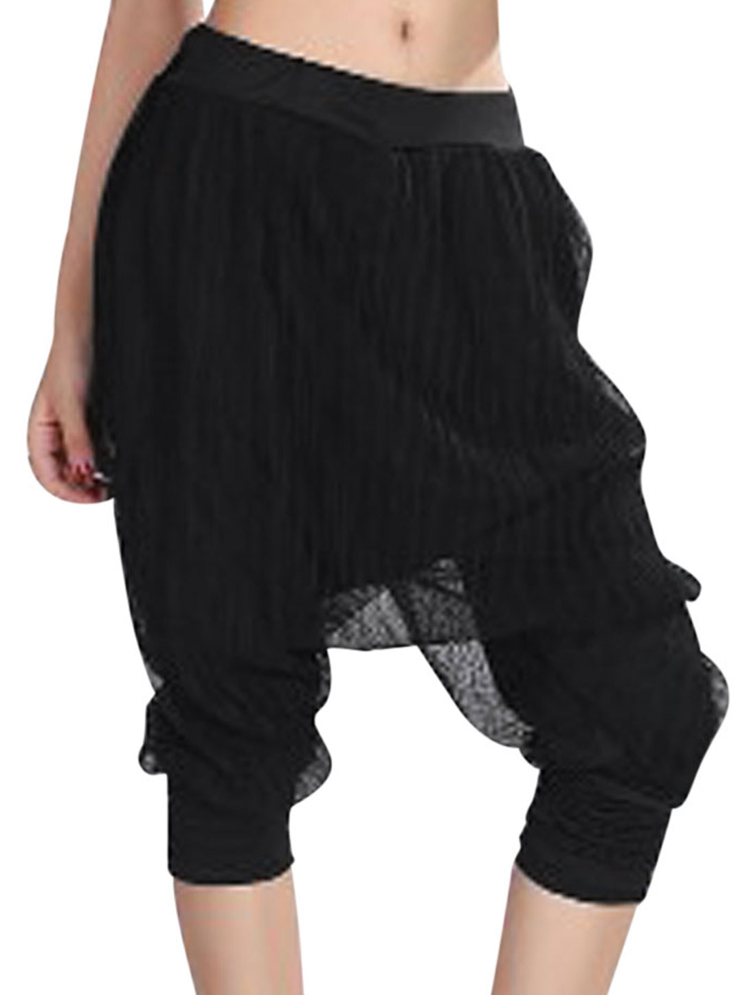 Lady Elastic Waist Mesh Panel Harem Style Pants Black XS