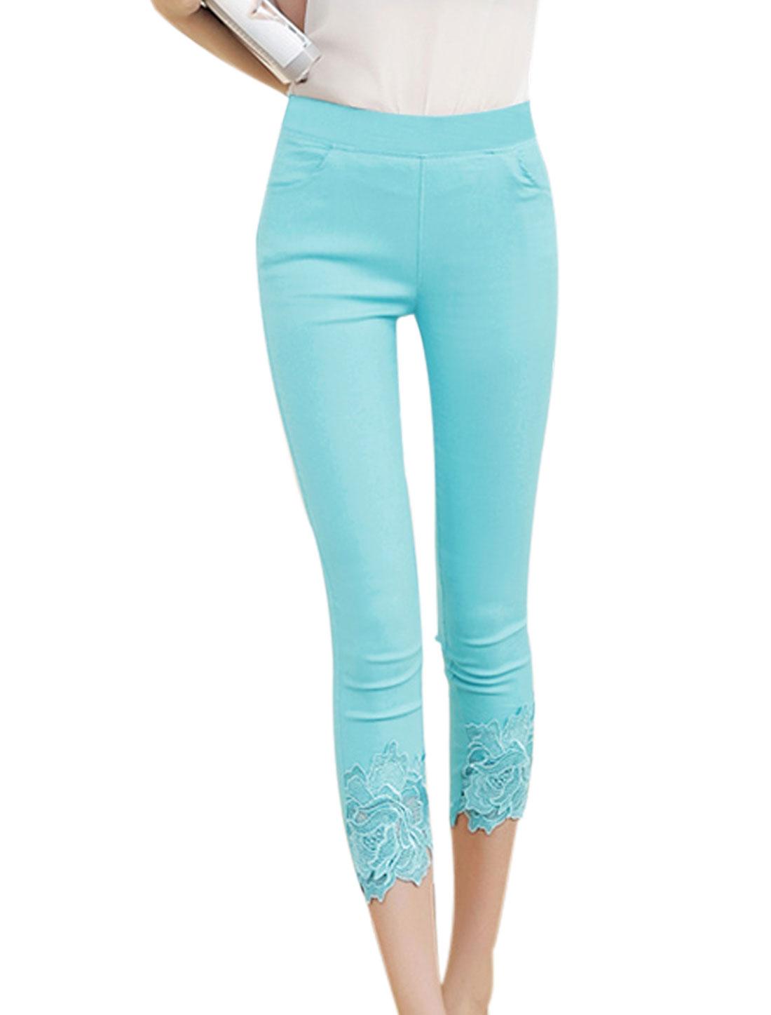 Lady Two Slant Pockets Skinny Casual Capri Pants Sky Blue XS