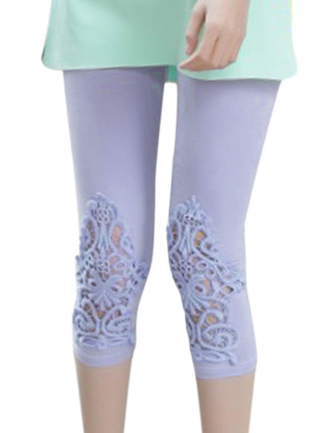 Lady Stretchy Waist Crochet Patchwork Skinny Capri Leggings Lavender XS