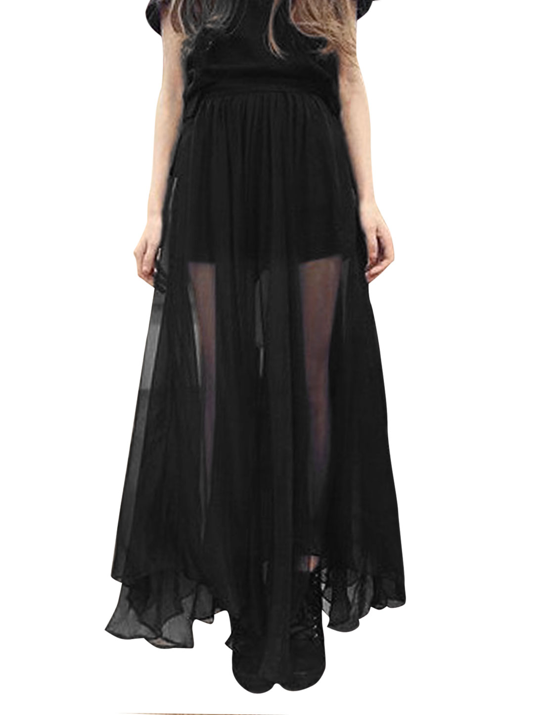 Lady Elastic Waist Semi Sheer Mid Calf Shorts Lining Skirt Black XS