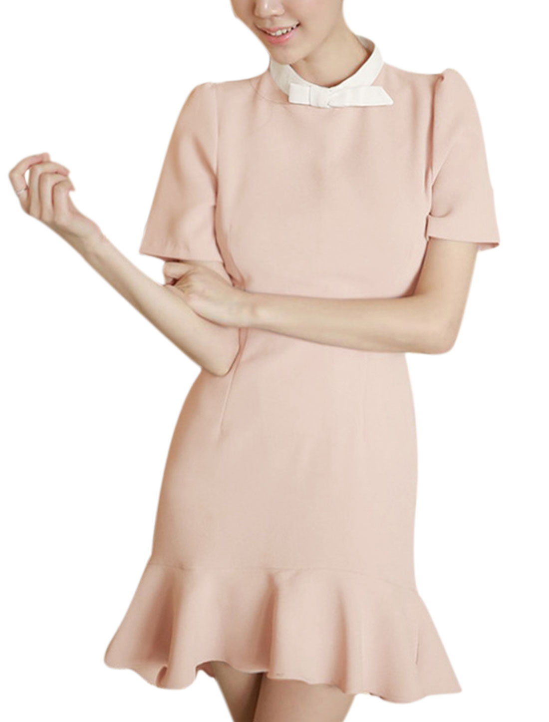 Lady Mock Neck Short Sleeve Hidden Zipper Slim Fit Sheath Dress Pale Pink S